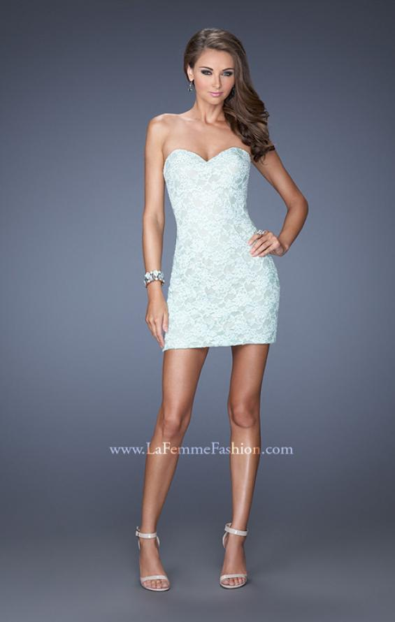 Picture of: Strapless Lace Mini Dress with Detachable Chiffon Skirt in Blue, Style: 19885, Detail Picture 1