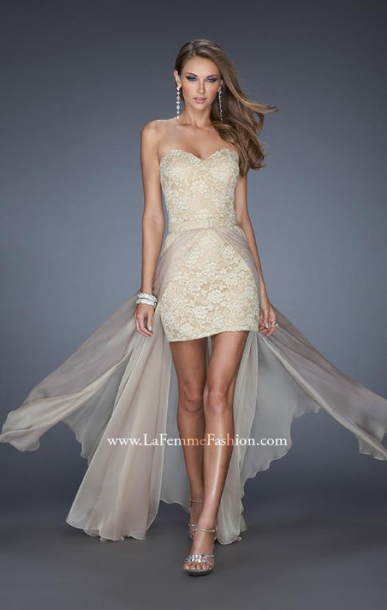 Picture of: Strapless Lace Mini Dress with Detachable Chiffon Skirt in Nude, Style: 19885, Detail Picture 2