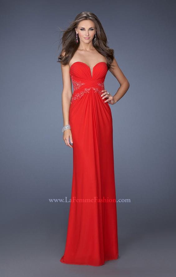 Picture of: Strapless Prom Dress with Jeweled Lace Cut Outs, Style: 19889, Main Picture