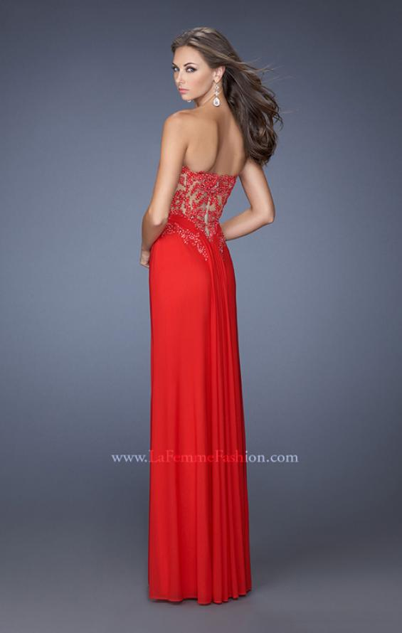 Picture of: Strapless Prom Dress with Jeweled Lace Cut Outs, Style: 19889, Back Picture