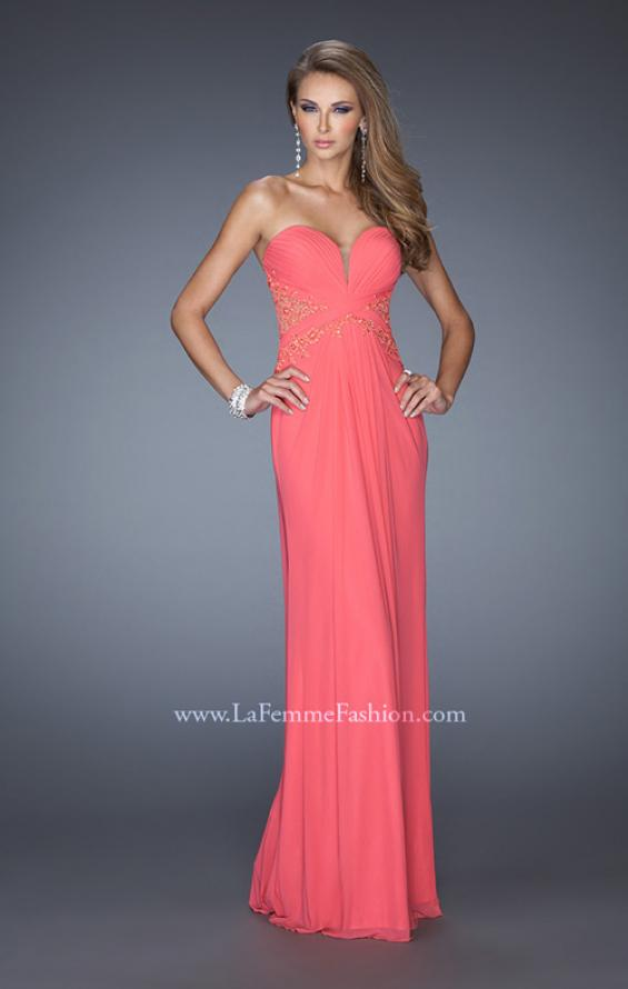 Picture of: Strapless Prom Dress with Jeweled Lace Cut Outs, Style: 19889, Detail Picture 2