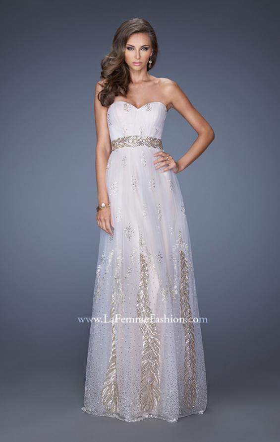 Picture of: Embellished Strapless Prom Gown with Gold Appliques, Style: 19891, Main Picture