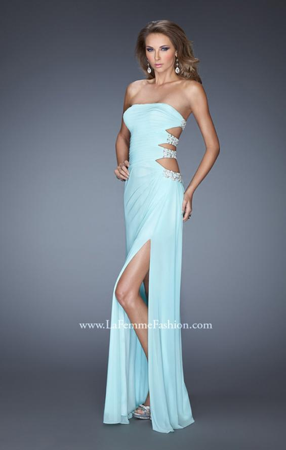 Picture of: Net Jersey Gown with Back Cut Outs and Pearls in Blue, Style: 19892, Main Picture