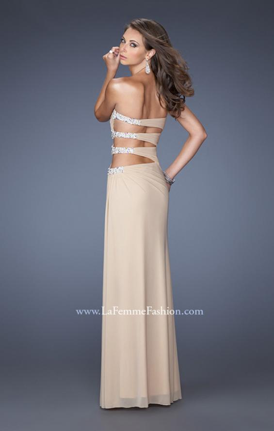 Picture of: Net Jersey Gown with Back Cut Outs and Pearls in Nude, Style: 19892, Back Picture