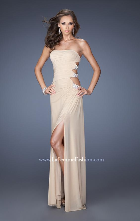 Picture of: Net Jersey Gown with Back Cut Outs and Pearls in Nude, Style: 19892, Detail Picture 2