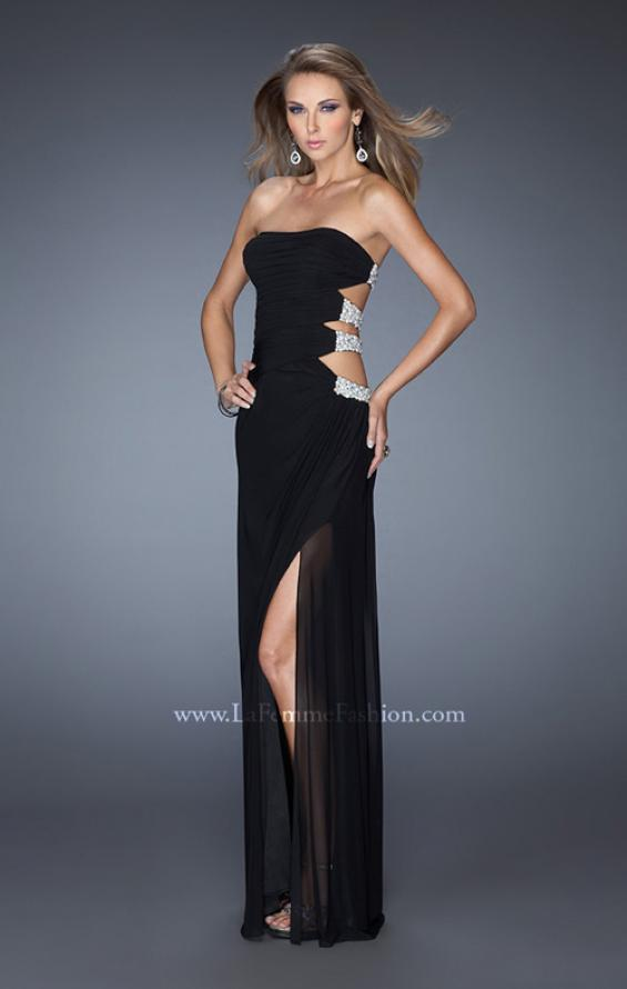 Picture of: Net Jersey Gown with Back Cut Outs and Pearls in Black, Style: 19892, Detail Picture 3