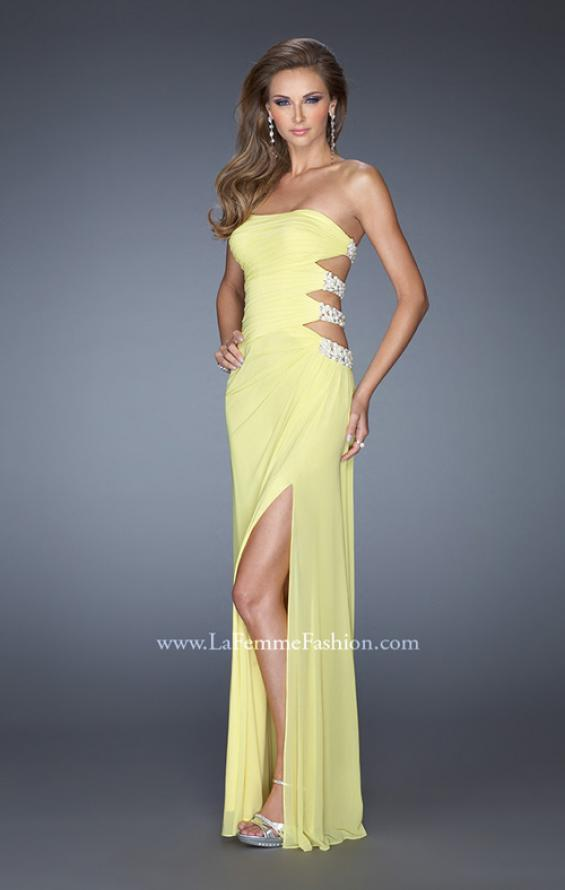 Picture of: Net Jersey Gown with Back Cut Outs and Pearls in Yellow, Style: 19892, Detail Picture 4