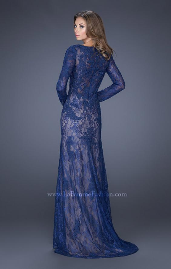 Picture of: Lace Prom Gown with V Neckline and Sheer Lace Sleeves, Style: 19893, Back Picture