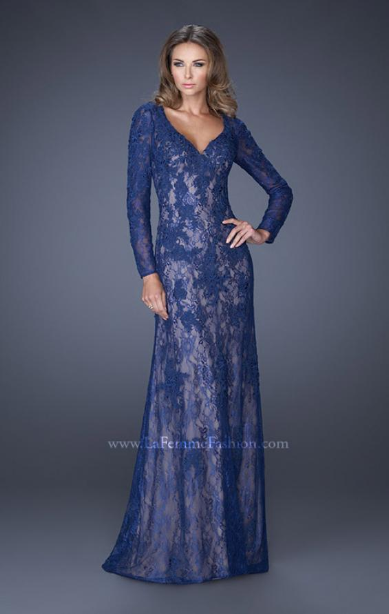 Picture of: Lace Prom Gown with V Neckline and Sheer Lace Sleeves, Style: 19893, Detail Picture 2