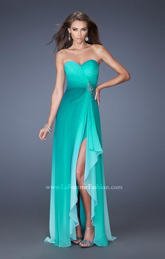 Picture of: Ombre Chiffon Prom Dress with Open Back and Slit in Green, Style: 19894, Main Picture