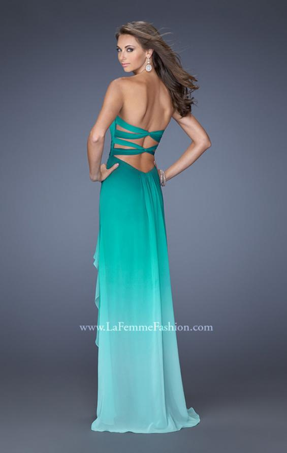 Picture of: Ombre Chiffon Prom Dress with Open Back and Slit in Green, Style: 19894, Back Picture