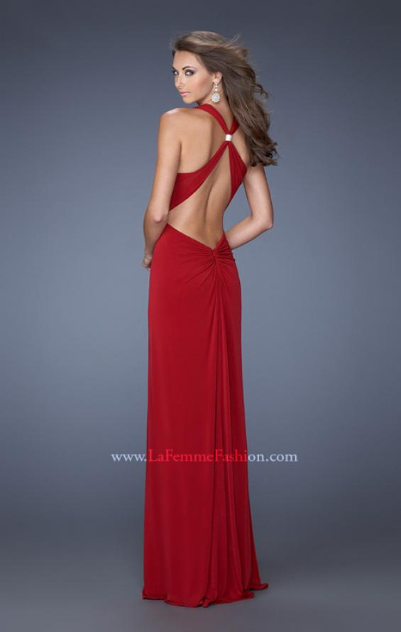 Picture of: Halter Jersey Prom Dress with Plunging Neckline and Slit in Red, Style: 19899, Back Picture