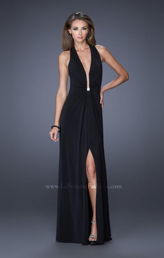 Picture of: Halter Jersey Prom Dress with Plunging Neckline and Slit in Black, Style: 19899, Detail Picture 1