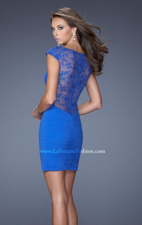 Picture of: Jersey Cocktail Dress with Cap Sleeves and Sequined Lace in Blue, Style: 19900, Back Picture