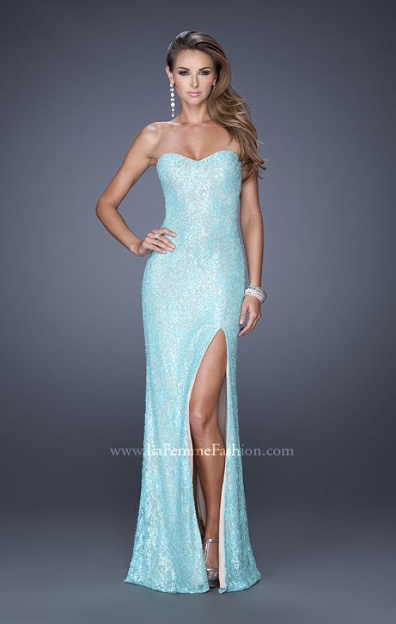 Picture of: Sequin and Lace Prom Dress with Side Leg Slit in Blue, Style: 19901, Detail Picture 1