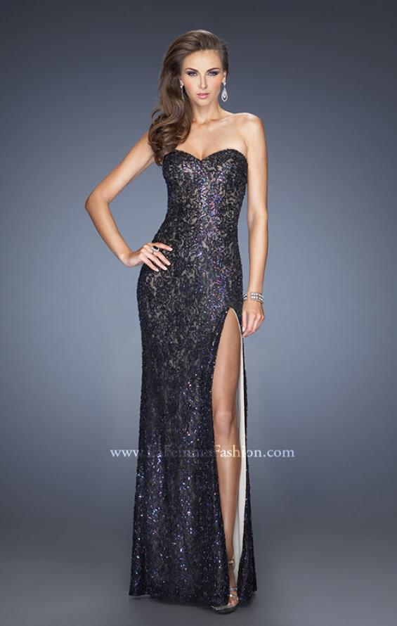 Picture of: Sequin and Lace Prom Dress with Side Leg Slit in Black, Style: 19901, Detail Picture 2