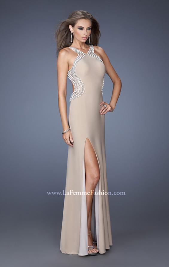 Picture of: Fitted Jersey Prom Dress with Embellished Neckline, Style: 19908, Main Picture
