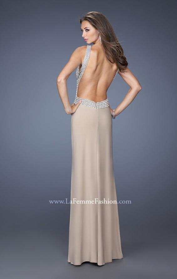 Picture of: Fitted Jersey Prom Dress with Embellished Neckline, Style: 19908, Back Picture