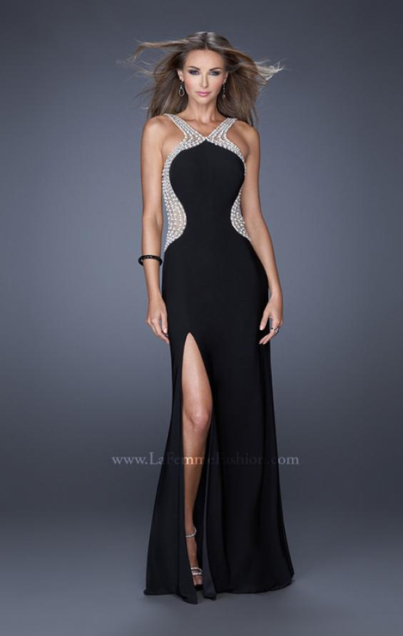 Picture of: Fitted Jersey Prom Dress with Embellished Neckline, Style: 19908, Detail Picture 1