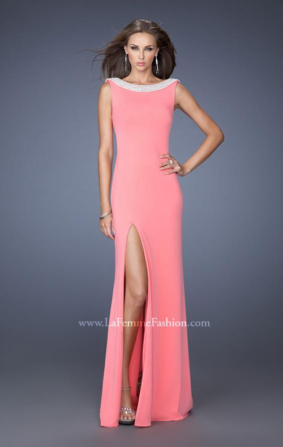 Picture of: Boat Neck Jersey Prom Dress with Side Slit and Pearls in Pink, Style: 19917, Main Picture