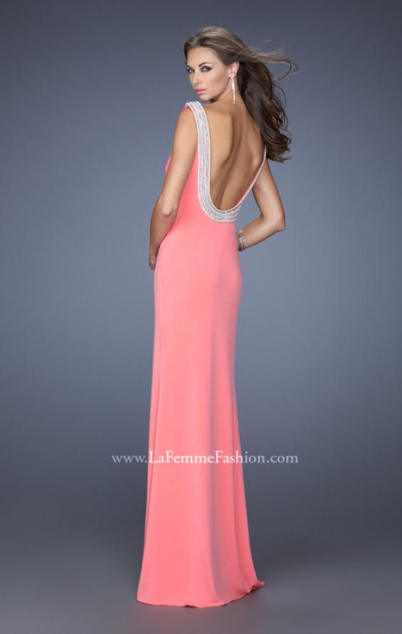 Picture of: Boat Neck Jersey Prom Dress with Side Slit and Pearls in Pink, Style: 19917, Detail Picture 1