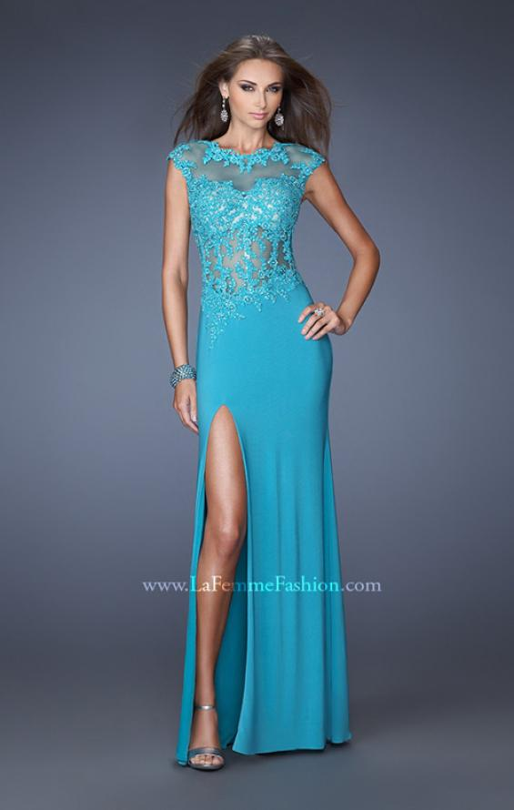 Picture of: Long Prom Dress with High Neck and Jeweled Lace in Blue, Style: 19918, Main Picture