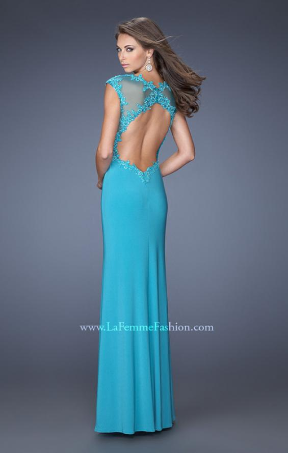 Picture of: Long Prom Dress with High Neck and Jeweled Lace in Blue, Style: 19918, Back Picture