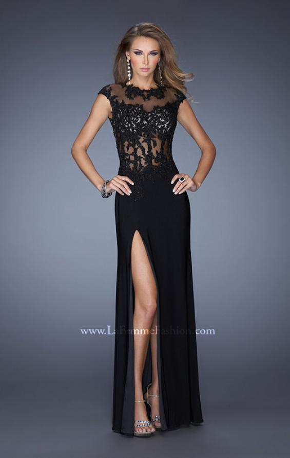Picture of: Long Prom Dress with High Neck and Jeweled Lace in Black, Style: 19918, Detail Picture 1