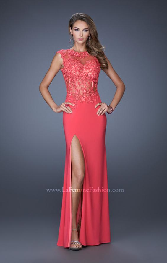 Picture of: Long Prom Dress with High Neck and Jeweled Lace in Pink, Style: 19918, Detail Picture 2