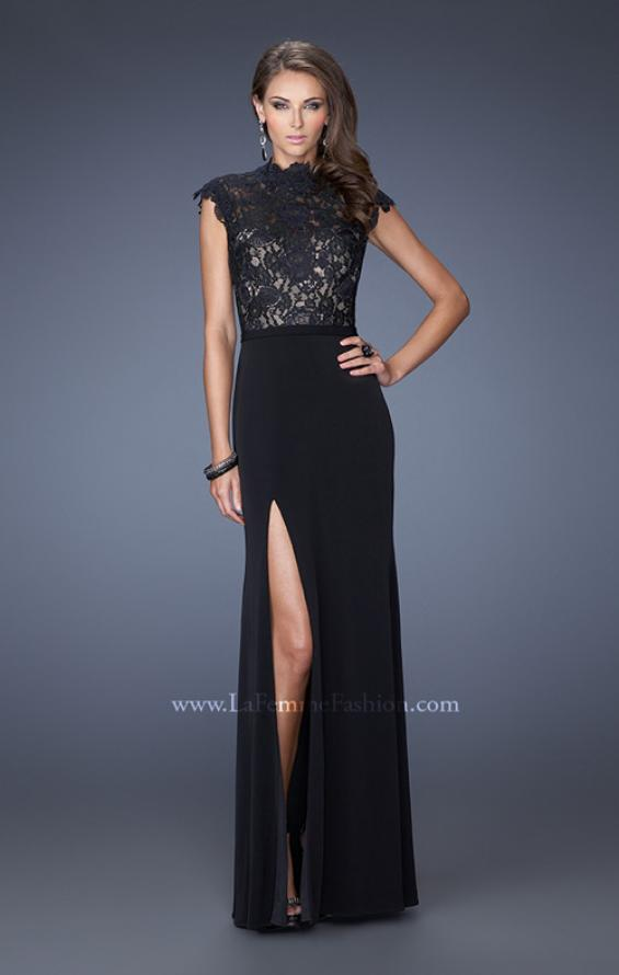 Picture of: Long Black Prom Dress with Lace and Slight Cap Sleeves in Black, Style: 19920, Main Picture