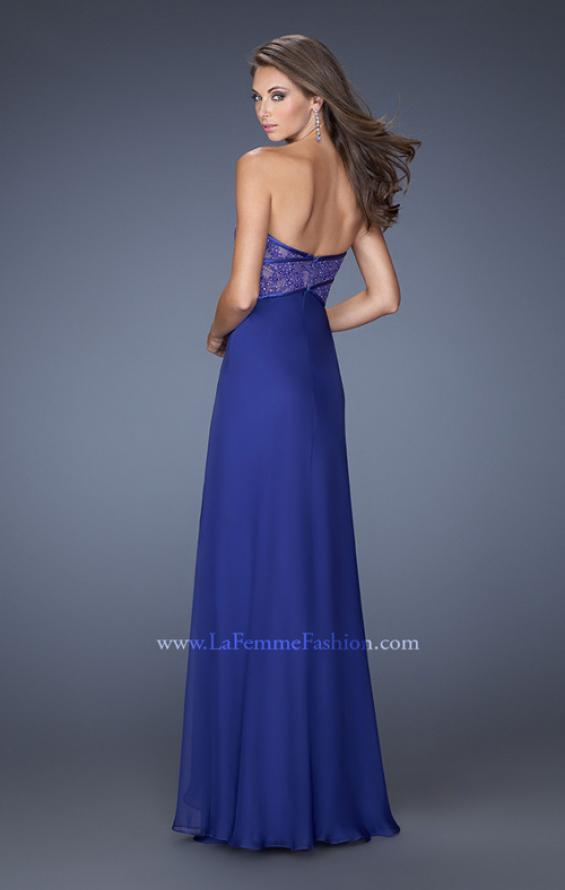 Picture of: Sweetheart Prom Dress with Tiered Chiffon Skirt in Blue, Style: 19921, Back Picture