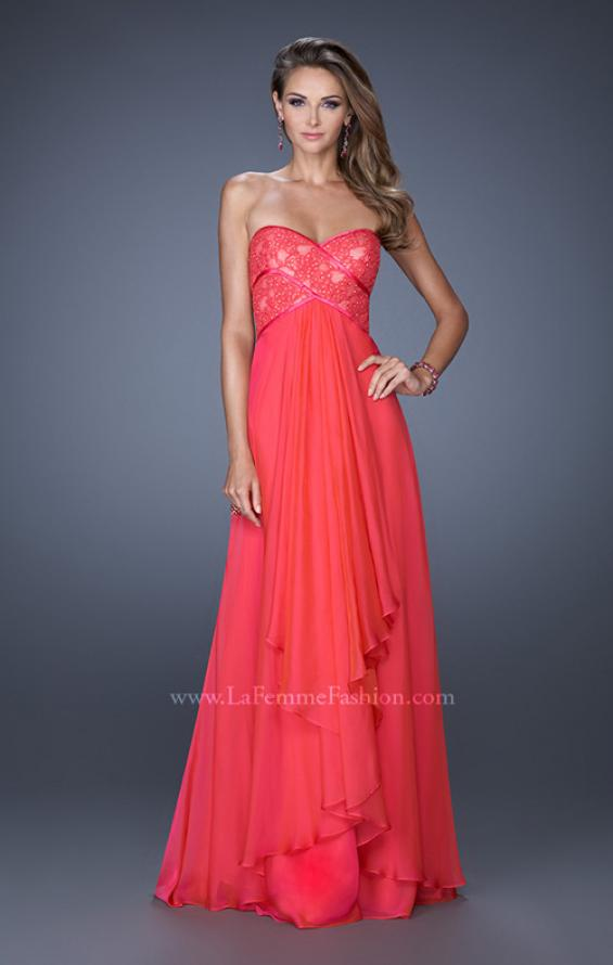 Picture of: Sweetheart Prom Dress with Tiered Chiffon Skirt in Pink, Style: 19921, Detail Picture 1