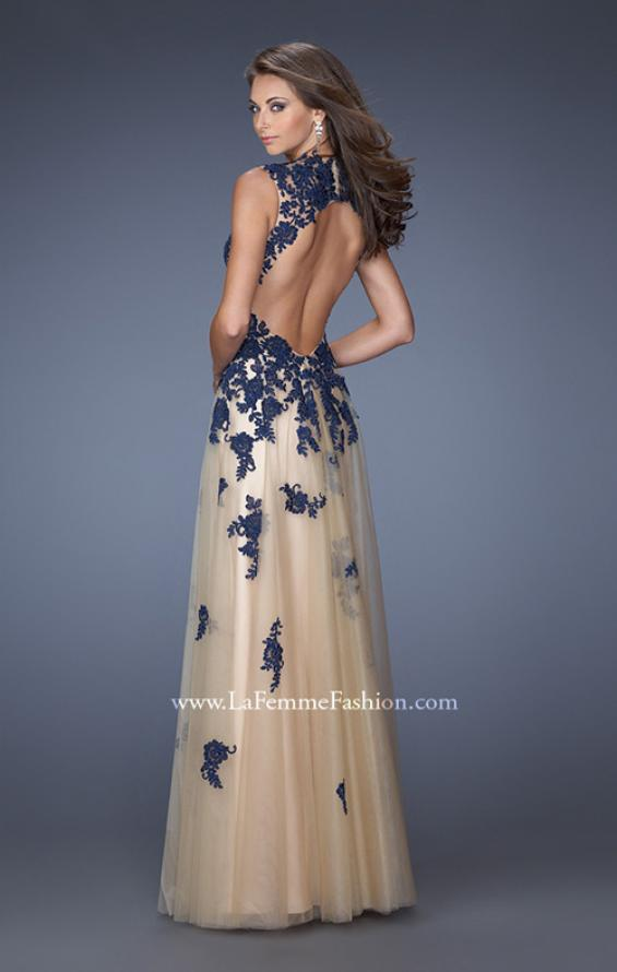 Picture of: Tulle Ball Gown with Zippered Pockets and Lace Bodice in Blue, Style: 19922, Back Picture