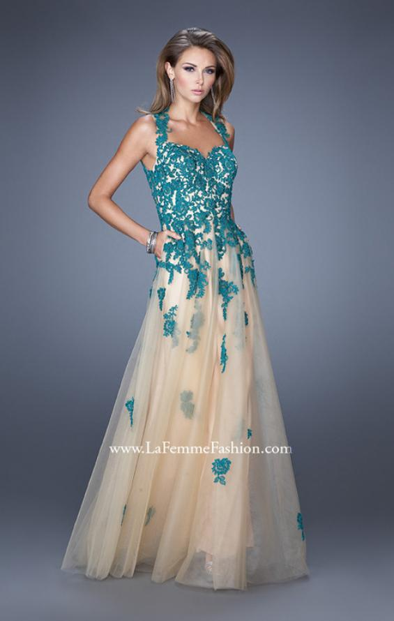 Picture of: Tulle Ball Gown with Zippered Pockets and Lace Bodice in Blue, Style: 19922, Detail Picture 2