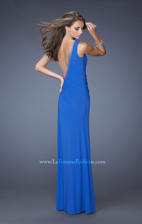 Picture of: Long One Shoulder Dress with Cut Outs and Jewels, Style: 19935, Back Picture