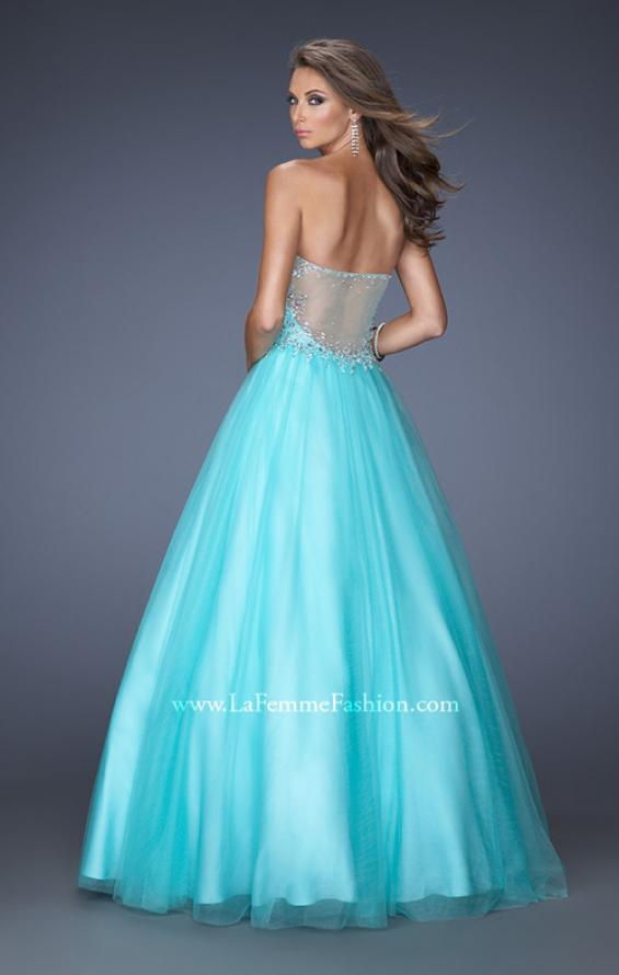 Picture of: Ball Gown with Full Tulle Skirt and Sweetheart Neckline in Blue, Style: 19940, Back Picture