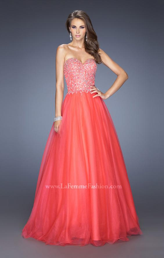 Picture of: Ball Gown with Full Tulle Skirt and Sweetheart Neckline in Orange, Style: 19940, Detail Picture 1