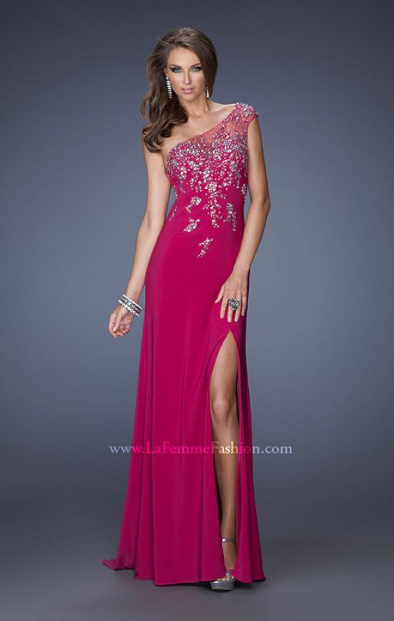 Picture of: One Shoulder Jersey Prom Dress with Side Leg Slit, Style: 19945, Main Picture