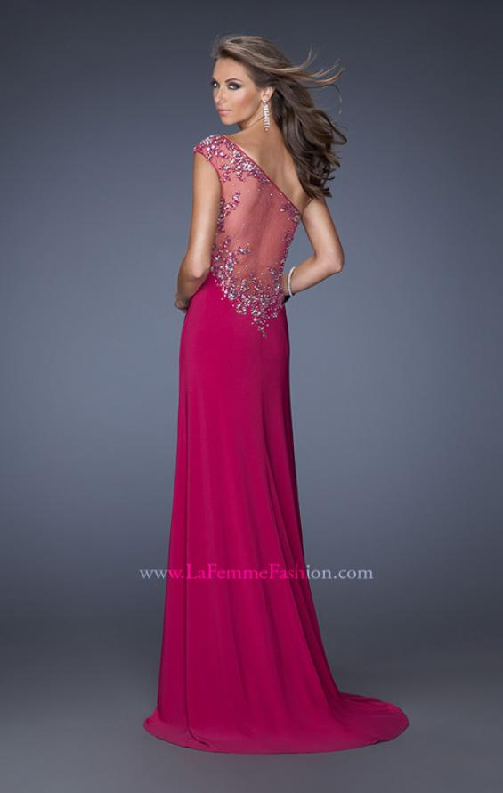 Picture of: One Shoulder Jersey Prom Dress with Side Leg Slit, Style: 19945, Back Picture