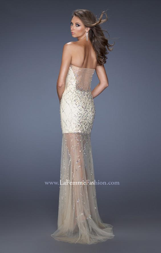 Picture of: Nude Mini Dress with Jewel Covered Back and Bodice in Nude, Style: 19947, Back Picture