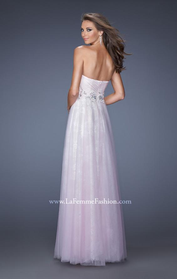 Picture of: Strapless Sweetheart Prom Dress with Lice Lining and Tulle in Pink, Style: 19967, Back Picture