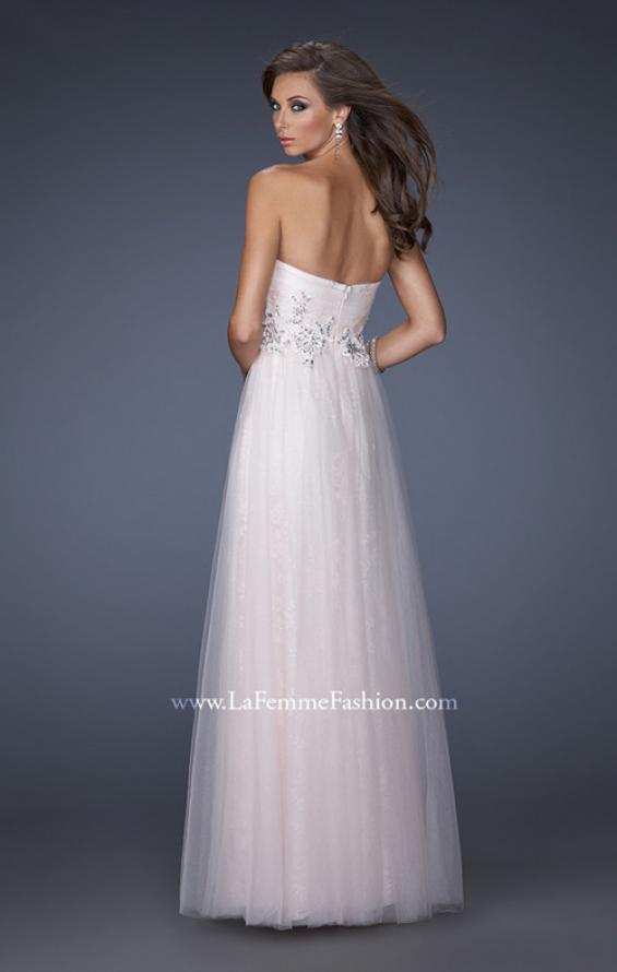 Picture of: A-line Prom Dress with Net Lining and Iridescent Stones in Pink, Style: 19968, Back Picture