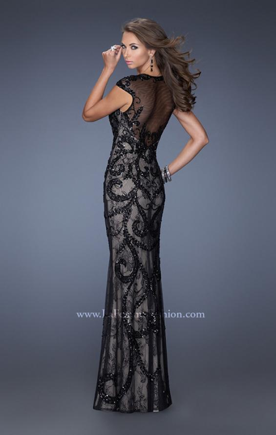 Picture of: Lace Column Gown with Sheer Cap Sleeves and Beading in Black, Style: 19971, Back Picture