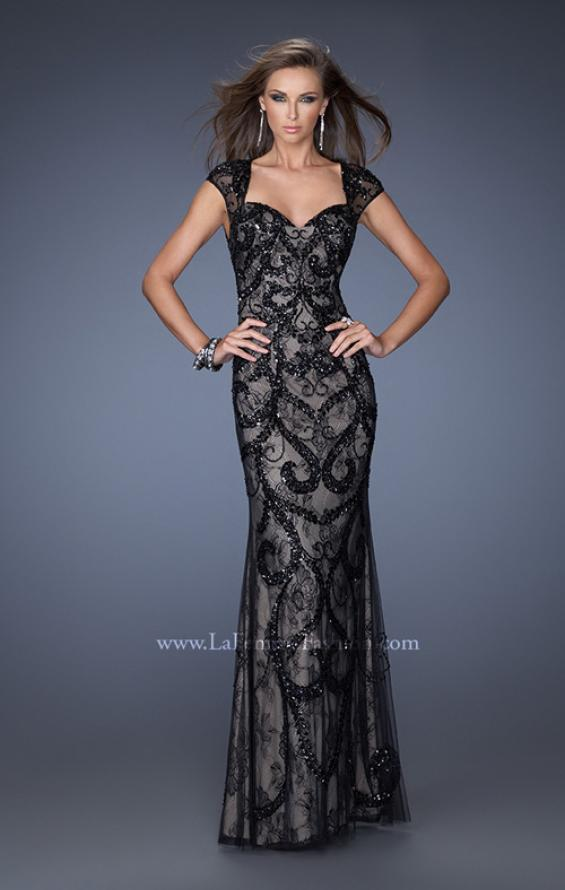 Picture of: Lace Column Gown with Sheer Cap Sleeves and Beading in Black, Style: 19971, Detail Picture 1