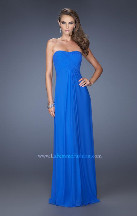 Picture of: Net Jersey Dress with Pleated Bodice and Open Back in Blue, Style: 19975, Back Picture
