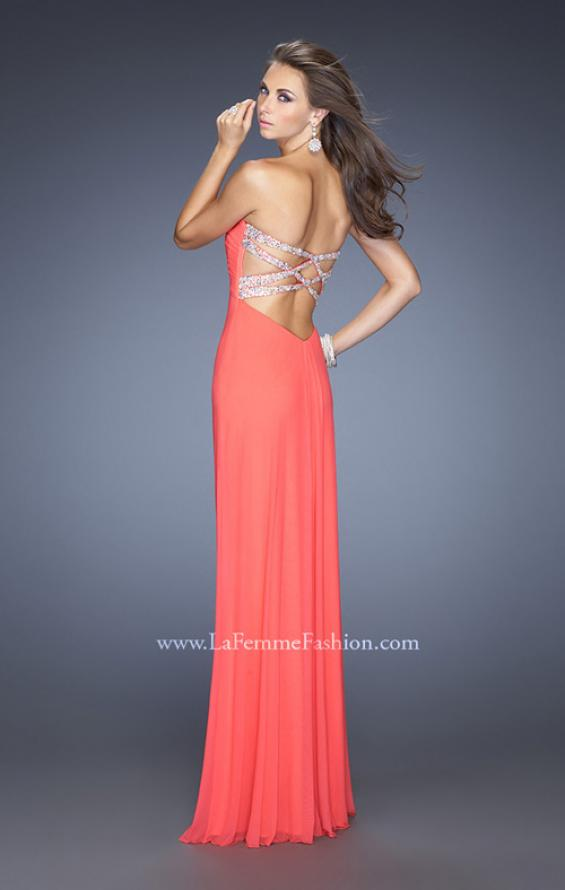 Picture of: Net Jersey Dress with Pleated Bodice and Open Back in Orange, Style: 19975, Detail Picture 2