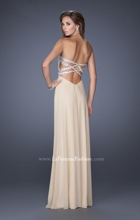 Picture of: Net Jersey Dress with Pleated Bodice and Open Back in Nude, Style: 19975, Detail Picture 3