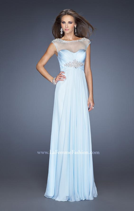 Picture of: Sweetheart Gown with Empire waist and Pearl Detailing in Blue, Style: 19977, Detail Picture 1