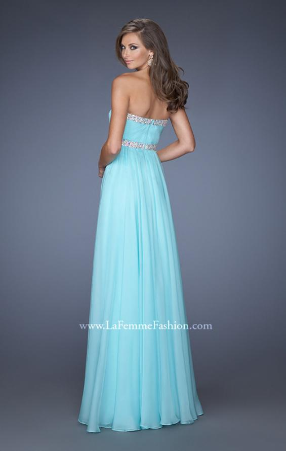Picture of: Long Chiffon Prom Gown with iridescent stones and pearls, Style: 19987, Back Picture