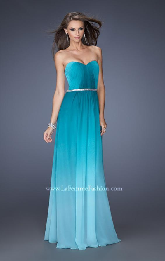 Picture of: Ombre Chiffon Dress with Jeweled Belt and Open Back in Blue, Style: 19989, Detail Picture 2
